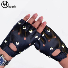 Morewin 2018 Silver Rivets Spring Gloves Men Leather Driving Fingerless Gloves Thin Party Black Cool Mittens Half Finger Mittens