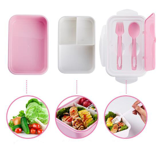 Three Separate Portable Mess Tin Microwave Box PP Outdoor Picnic