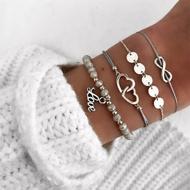 4 Pcs/ Set Exquisite Women Multilayer Beads Heart Letter Love Digital Round Chain Leather Bracelet Set Punk Silver Party Jewelry