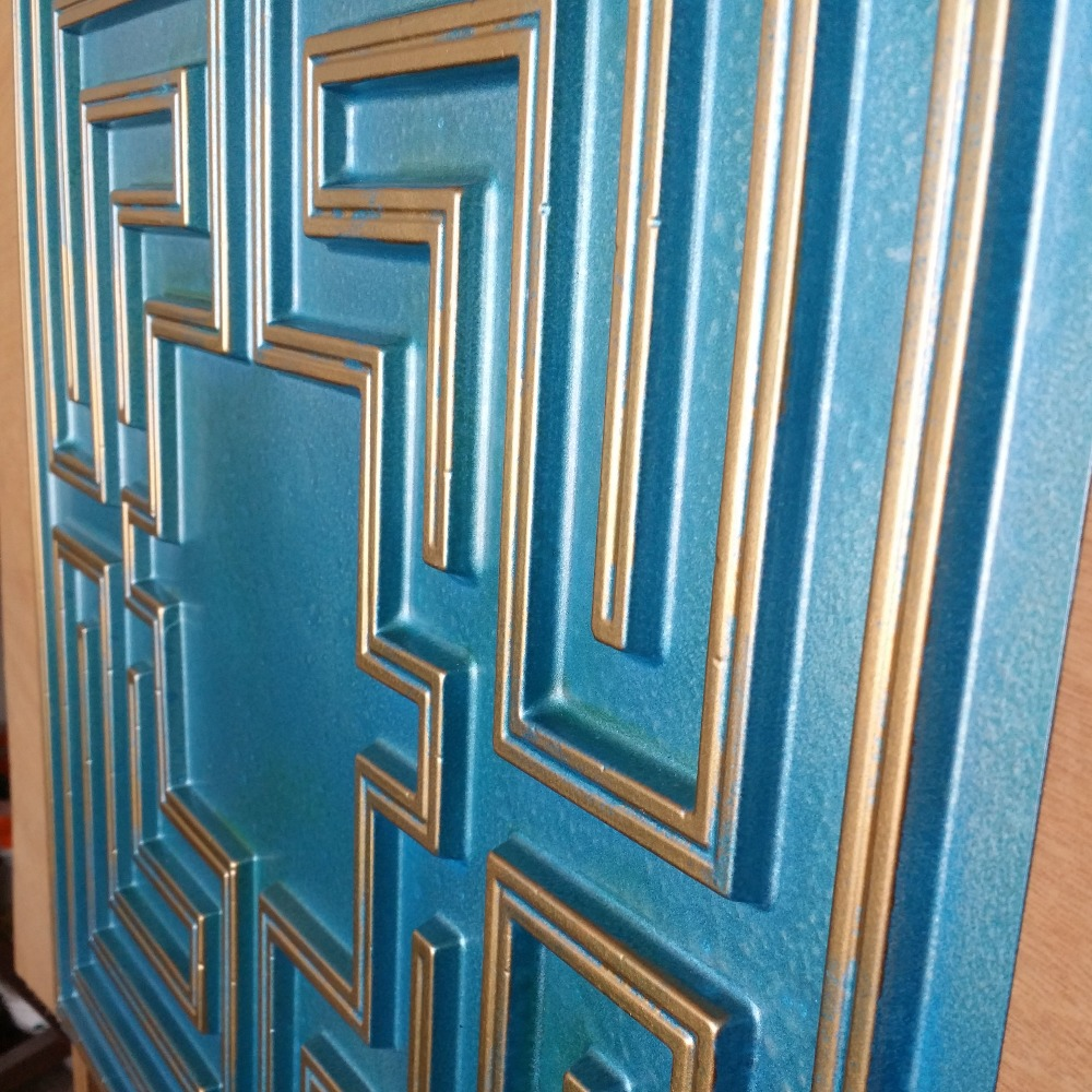 PL25 false tin ceiling tile cyan gold color 3D embossed cafe club ...