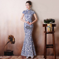 Blue And White Porcelain Daily Cheongsam Evening Gown Chinese Traditional Dress Modern Wedding Qipao Robe Chinoise