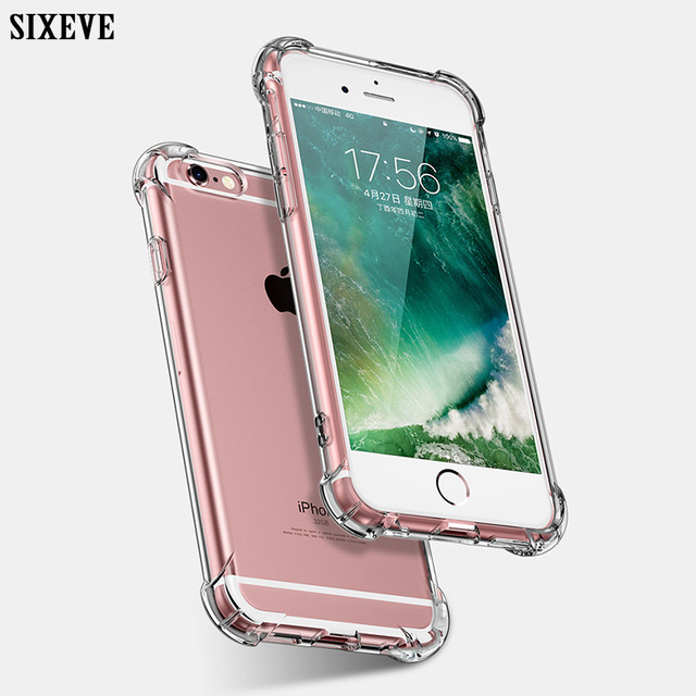 the best attitude e9646 73efd US $1.42 23% OFF|SIXEVE Soft Silicone Clear Shockproof Case For iPhone 6 S  6S iPhone X 7 8 Plus 6Plus 6SPlus 7Plus 8Plus Cell Phone Cover Casing-in ...