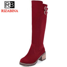 RizaBina 4 Colors Women High Heel Boots Metal Buckle Knee Boots Warm Fur Shoes For Cold