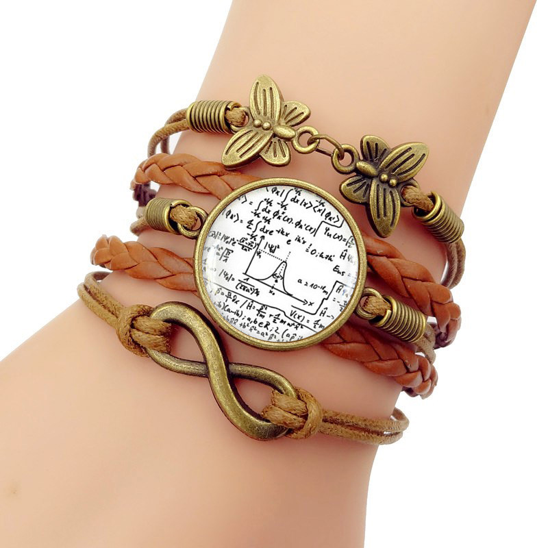 Multilayer Glass convex combinatio Math Equation Handmade Knitted Leather bracelet Men for Jewelry for Womens Gift
