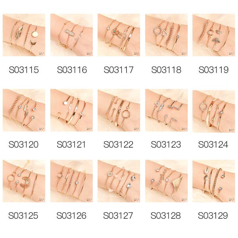 SHUANGR 4 шт./компл. винтажный металлический лист открывающиеся браслеты для женщин девушка богемный Регулируемый Набор браслетов эффектные ювелирные изделия