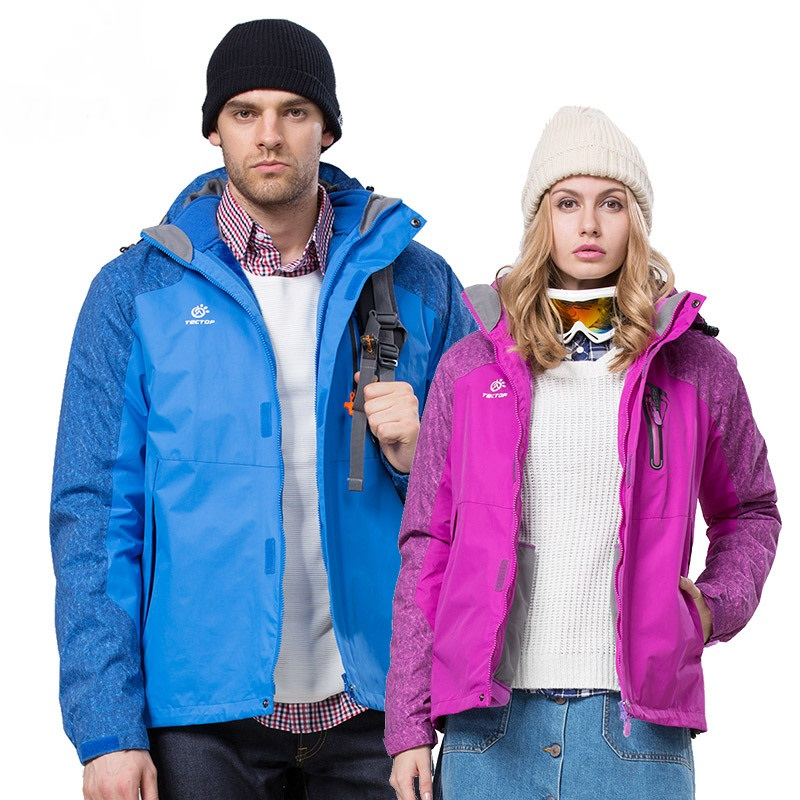 ФОТО Winter 3 in 1 Outdoor Hiking Jackets Lovers Women Men Waterproof Thermal two-piece Sport Coats For Camping Skiing Hiking S-XXXL