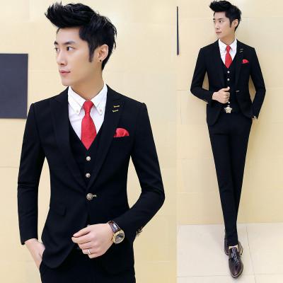 Black suit men blazers stage costumes for singers men 3 pieces mens formal suits groom tuxedo business suit men suit fashion 1