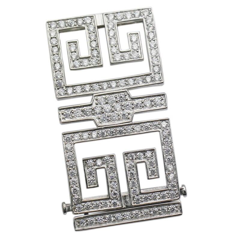 Beadsnice argent Sterling Rectangle fermoir Multi brin collier connecteur femmes collier accessoires bricolage cadeau ID35302 - 2