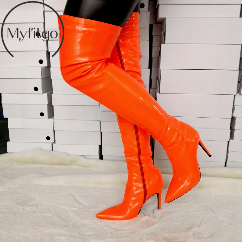 Myfitgo Large Size EU35-46 Women Over-the-Knee High Thigh Boots Orange Sexy Thin Heels Women Party Club Shoes Solid Long Boots Myfitgo Large Size EU35-46 Women Over-the-Knee High Thigh Boots Orange Sexy Thin Heels Women Party Club Shoes Solid Long Boots