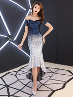 High Low Sequined Cocktail Dress Elegant Contrast Color Evening Party Dresses Mermaid Prom Dress Special Occasion Dresses