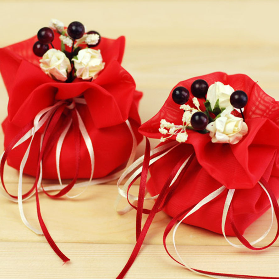 100pcs/lot Italian color bag - happy red wedding <font><b>celebration</b></font> candy bag | large European style wedding creative candy box