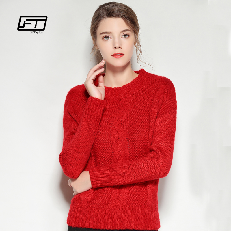 Fitaylor 2018 Red Christmas Sweater Women Autumn Winter Long Sleeve O-neck Sweaters  Pullover Female 6a40d466a