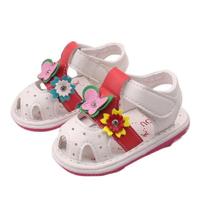 0bea6b71e7fa9 ROMIRUS Sandales pour Filles Nouveau-Né Mignon Fleurs Papillon Bébé  Chaussures Chaussures Avec Son D