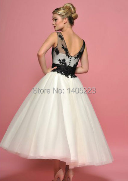 Black White Tea Length Wedding Dresses - Short Hair Fashions