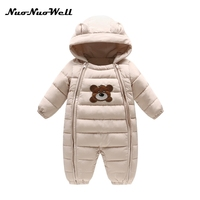 NNW Newborn Baby Winter Clothes Bear One Piece Baby Girl Boy Rompers Hooded Plush Jumpsuit Winter