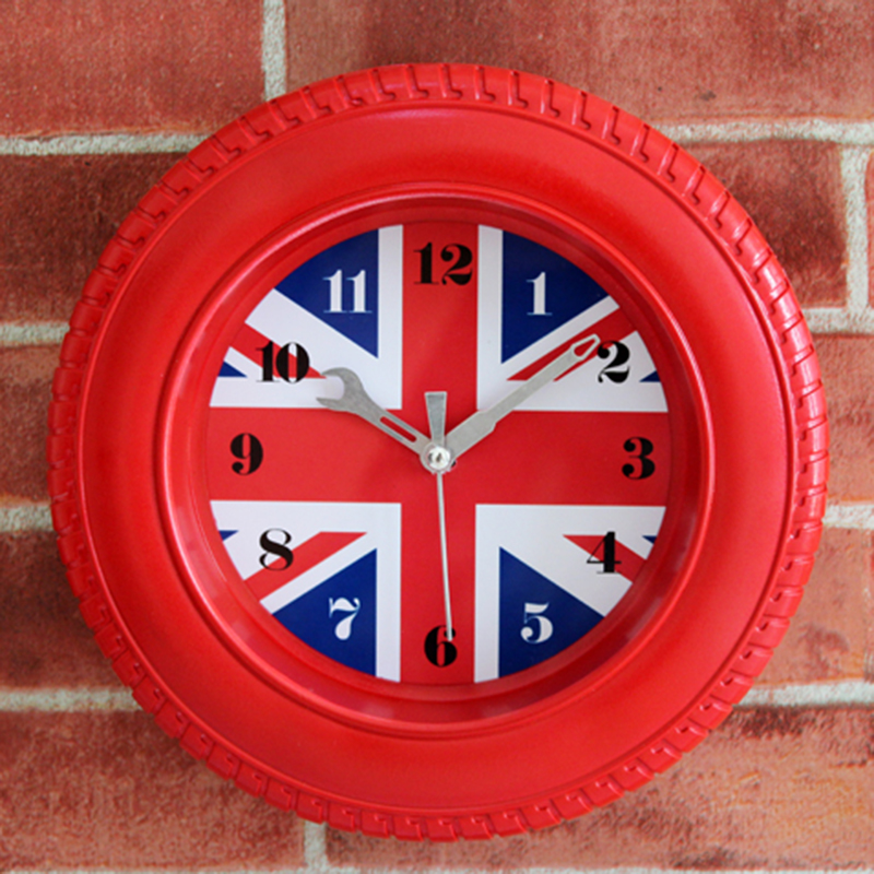 UK Flag Alarm Clock Tire Shape Desk Table Bedside Stand Clock Retro Students Round Stand Clock Home Decor Mute Wall Clocks