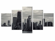 Wholesale 5 pieces / set of City series landscape wall art for decorating home Decorative painting on canvas framde City-98