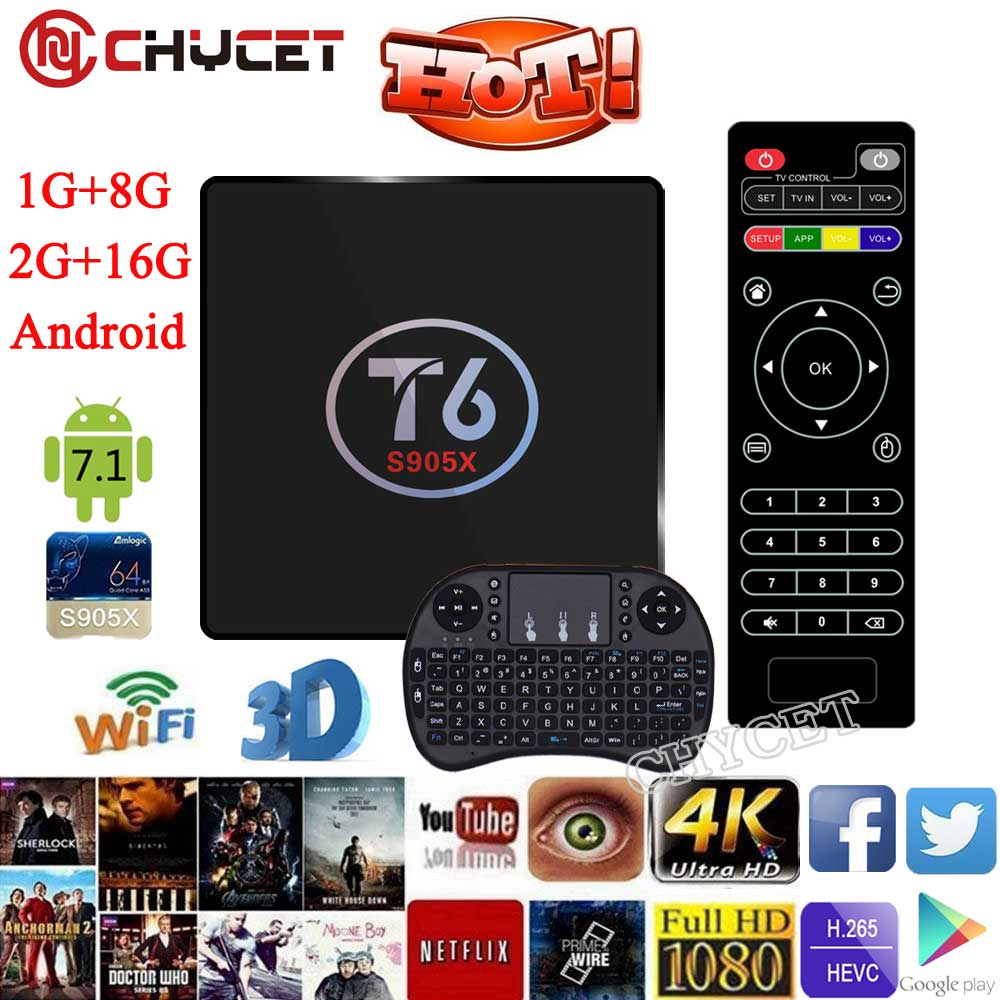 T6 TV Box Amlogic S905X Quad Core TV Box 1G 8G 2G 16G WiFi Android Smart
