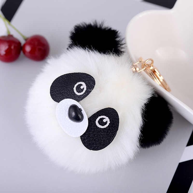 Moda Fluffy Faux Rabbit Fur Bola Chaveiro Panda Mulheres Saco Encantos Pom Pom Urso Gato de Ouro Anel Chave de Prata Cadeia jóias Trinket
