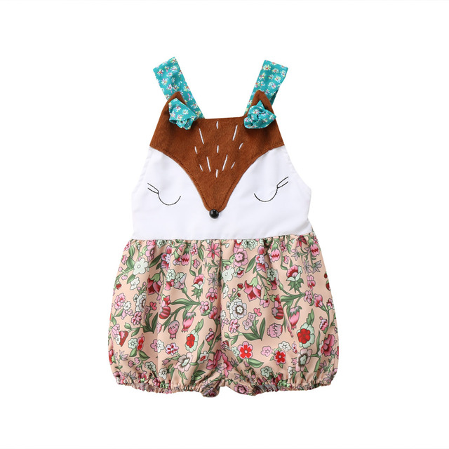 00acf5c87f35 Baby Girl Infant Fashion Fox Sleeveless Patchwork Romper Jumpsuit ...