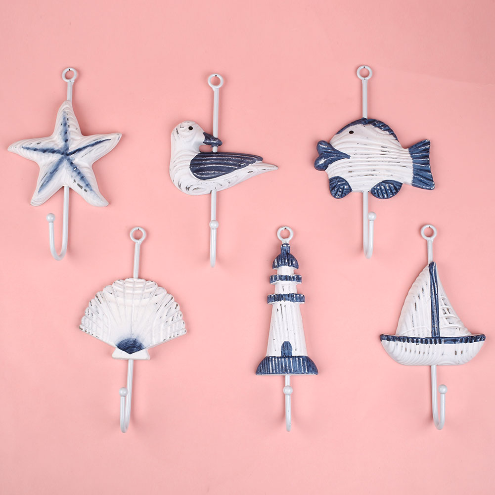 1PC/lot Wall Hanger Hook Italian Ocean Sea Sailing Boat Starfish Beacon Bathroom Wall Hanger Hook White Blue Random Style