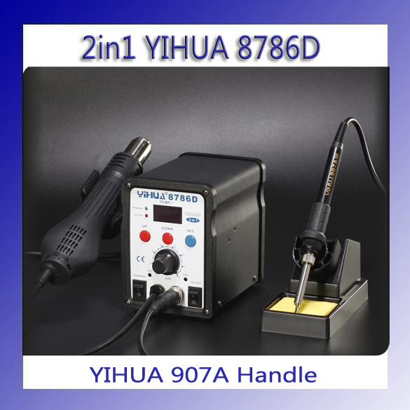 HOT YIHUA 8786D Digital Temperature Control 2 in 1 Rework Solder Station Hot Air Heat Gun and Soldering Iron hot selling yihua 926 adjustable temperature electronic soldering iron station