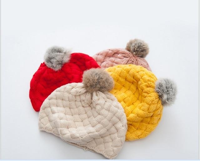 d330a32850088 Bola de Pêlo de Coelho Boina Inverno Quente das crianças Tricô de Lã de  Crochê Tampas