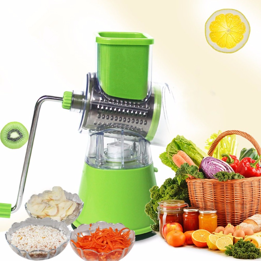 3 In1 Manual Vegetables Grinder Fruit Cutter Slices/Crocus Shred Hand Push Mandoline Slicer Shredders Stainless Steel Blades стоимость