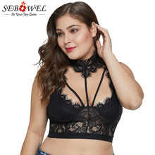 SEBOWEL Sexy Plus Size Black Lace Choker Crop Tops Summer Woman Hollow-out 2019 Sleeveless Cropped Top Female Sarafan Clothes