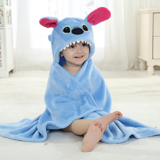 2017 winter flannel receiving blankets Animal Stitch Cow Hello Hooded newborn wrap newborn photography props blanket baby receiv