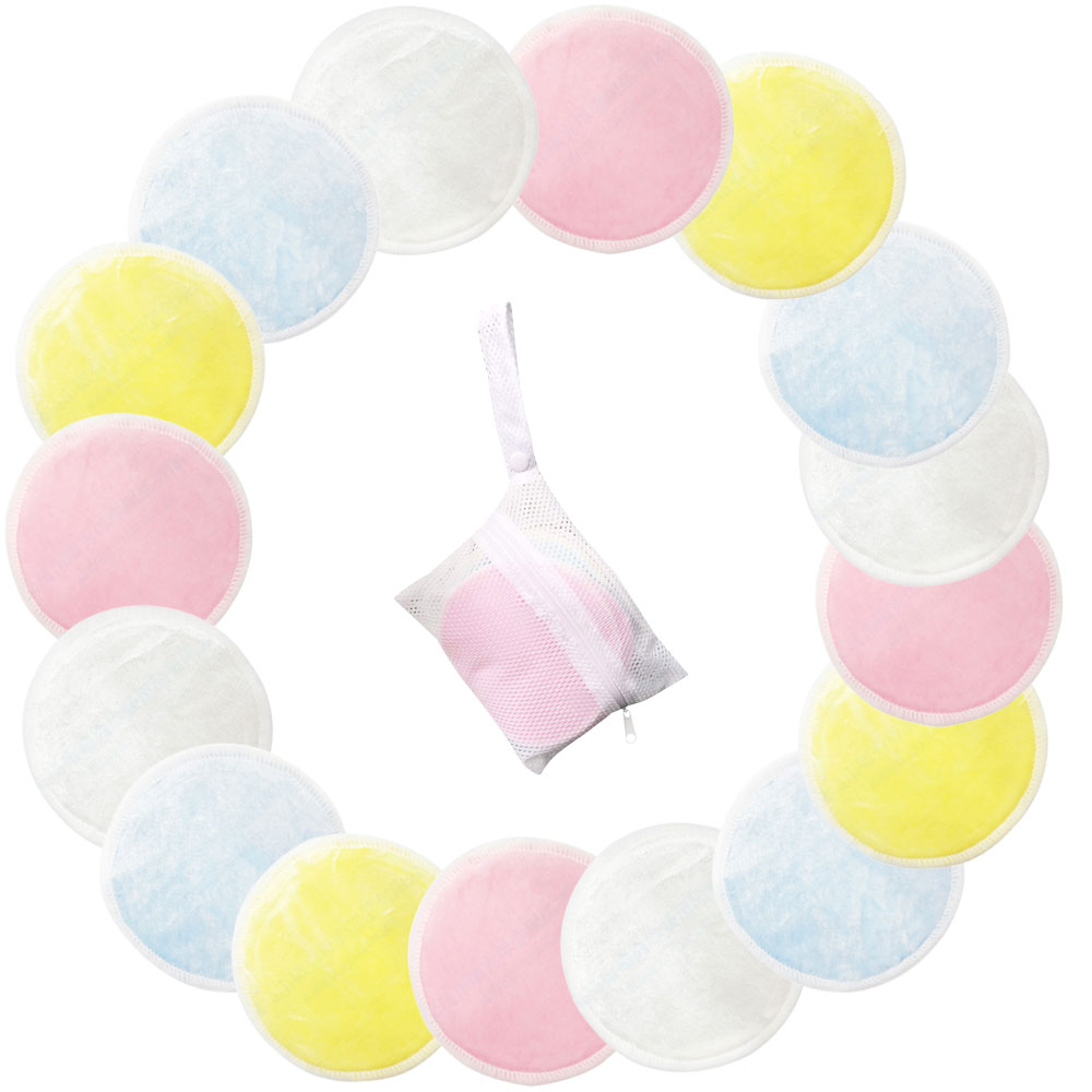 8/16/20 piezas almohadillas de algodón reutilizables removedor Facial almohadillas de limpieza de doble capa lavable con bolsa de lavandería