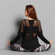 Black Modal Yoga Shirts Sexy Back Mesh Long Sleeve Sport T Shirt Women Gym Workout Tops Loose U Neck Breathable Fitness Clothing