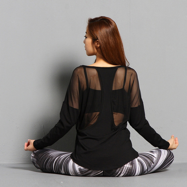 d16167478 Black Modal Yoga Shirts Sexy Back Mesh Long Sleeve Sport T Shirt Women Gym  Workout Tops Loose U Neck Breathable Fitness Clothing