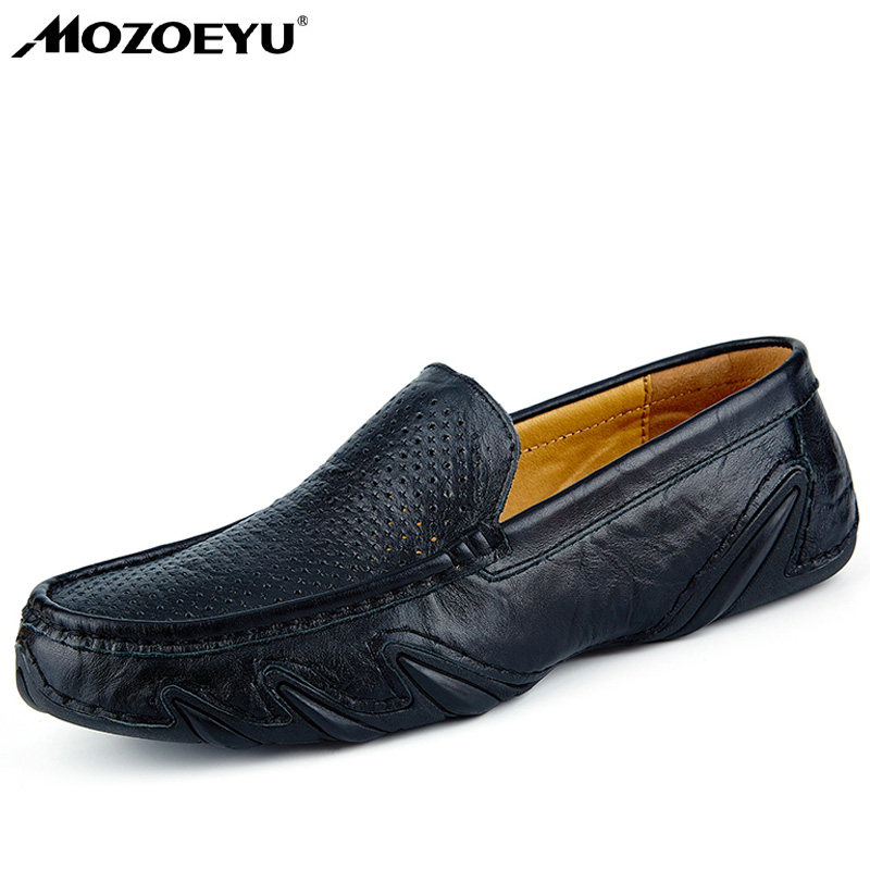 MOZOEYU Handmade Genuine Leather Mens Shoes Casual Luxury Brand Men Loafers Fashion Breathable Driving Shoes Slip On Moccasins mycolen men loafers leather genuine luxury designer slip on mens shoes black italian brand dress loafers moccasins mens