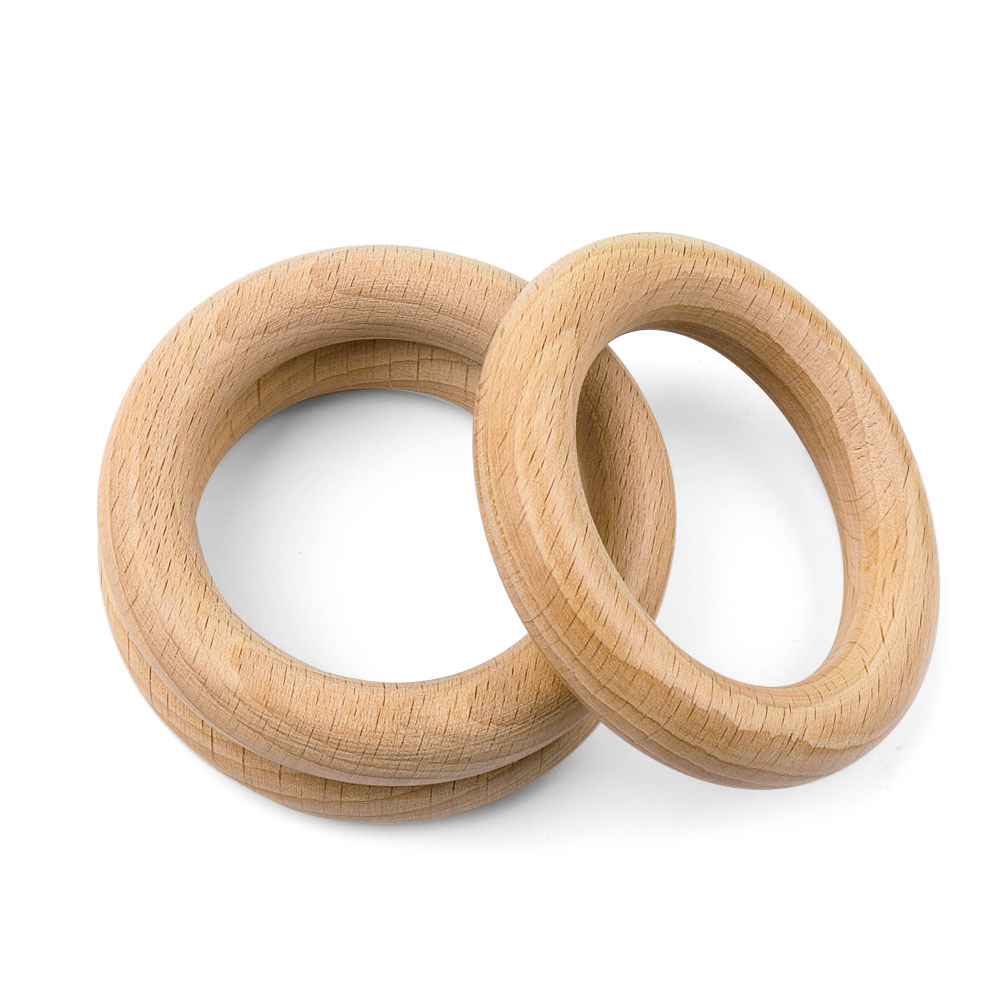 TYRY.HU Natural Wood Teething Rings Toy  Baby Teether Tooth Care Non-toxic Healthy 100% Beech Wooden 40/70mm