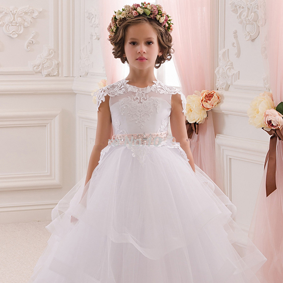 Elegant   Flower     Girl     Dresses   Appliques tulle Long Little Princess Ball Gown for Wedding Party Pageant First Communion Custom Made