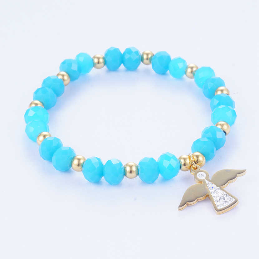 Yunkingdom 4 Colors Handmade Beads Charm Bracelet & Bangles Angel Pendant Bracelets for Women Girls Stainless Steel Jewelry