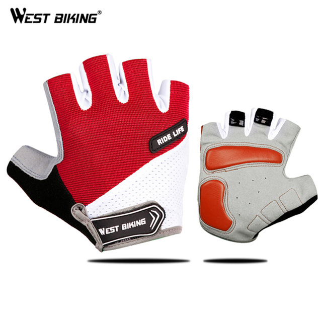 WEST BIKING Bicycle Gloves Outdoor Half Finger Gel Pad Sport Men Gloves Shockproof Breathable Summer Gloves For Cycling GYM