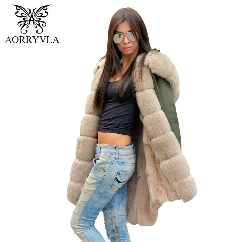 AORRYVLA Real Fur parka For Women Winter 2017 Fur Sleeve Natural Fox Fur Collar Hooded With Rabbit Fur Liner Long Casual Coat 2017 winter new clothes to overcome the coat of women in the long reed rabbit hair fur fur coat fox raccoon fur collar