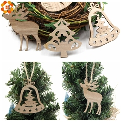 10PCS DIY Christmas Snowflakes&Deer&Tree Wooden Pendant Ornaments For Christmas Party Xmas Tree Ornaments Kids Gifts Decorations 5