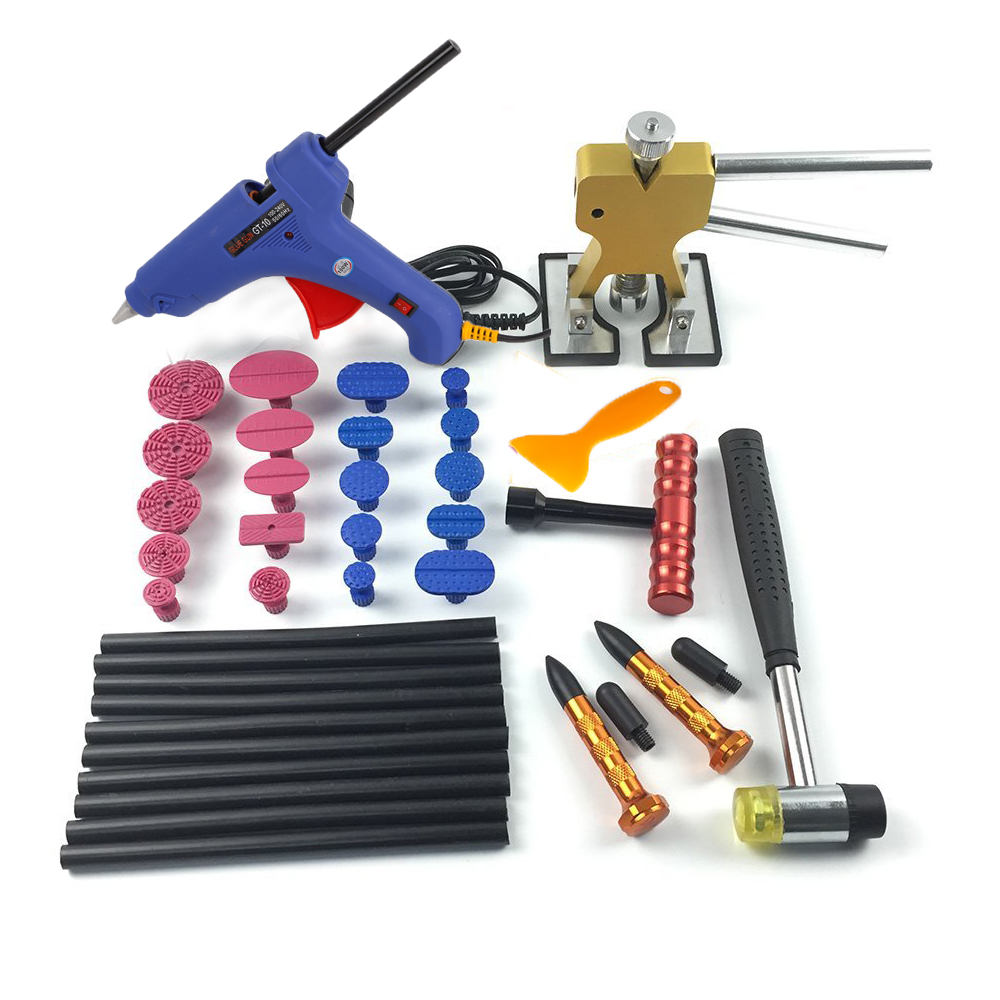WHDZ Automotive Paintless Dent Repair Tools Golden Mini Dent Removel Lifter PDR Hail Repair Tool with 20pcs Glue Puller Tabs whdz 64pcs pdr tool dent lifter paintless dent hail removal repair tools glue pdr tool kit pdr pro tabs tap down line board