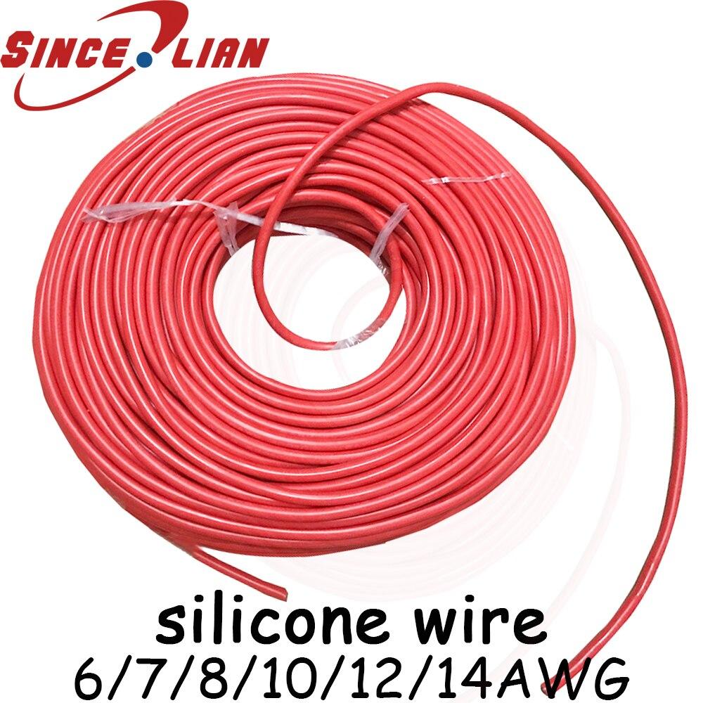 Fil de caoutchouc Silicone Original AWG 5 M 10 M câbles jauge rouge noir fil de cuivre étamé fils d'aviation flexibles 6 7 8 10 12 14AWG