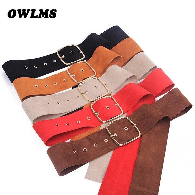 Newest Brown Coat Belt Women's Belts Long Gold Pin Buckle Sweater Bundle Jacket Waist Skirt Waistband Red Velvet Soft Strap Belt