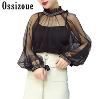 Sring Autumn Beading Pearl Lace Blouses Sexy Perspective Women S Shirt Lantern Sleeve Elegant Ladies Stand
