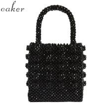 цены Women brand black white yellow pink fashion pearls bag beaded box bucket totes bag women party elegant handbag luxury  wholesale