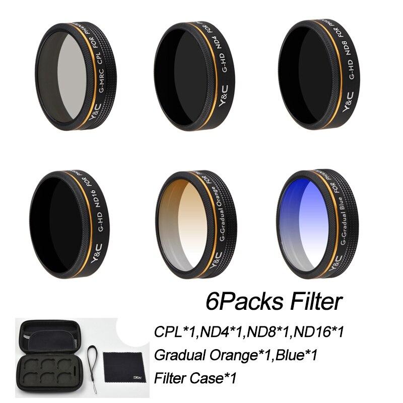 7 DANS 1 Faisceau filtre d'objectif pour DJI Phantom 4 Pro 4A caméra drone Lentille CPL ND4 ND8 ND16 Progressive Bleu Orange avec étui de protection