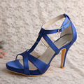 (20 Colors)Custom High Heel Shoes Blue Satin Strappy Evening Sandals Dropshipping