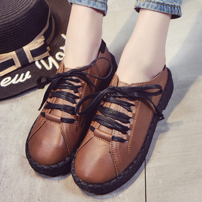 Student spring and autumn single women's wild single Korean version of the lace-up shoes flat retro small shoes
