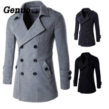 Genuo Autumn Winter Wool Coat Men Fashion Turn-down Collar Wool Blend Double Breasted Pea Coat Jacket Men Slim Fit Overcoats недорго, оригинальная цена