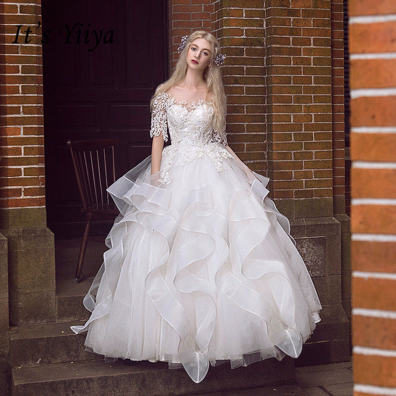 Rivini Lace Tiered Wedding Gown: It's Yiiya Floor Length Wedding Dresses Lace Tiered Pleat